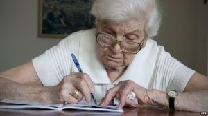 elderly person playing a game